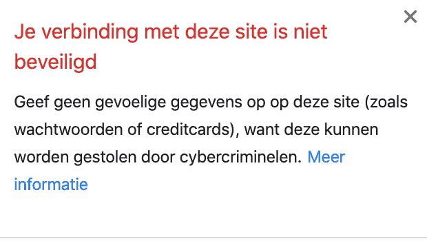 Extra informatie geen SSL certificaat